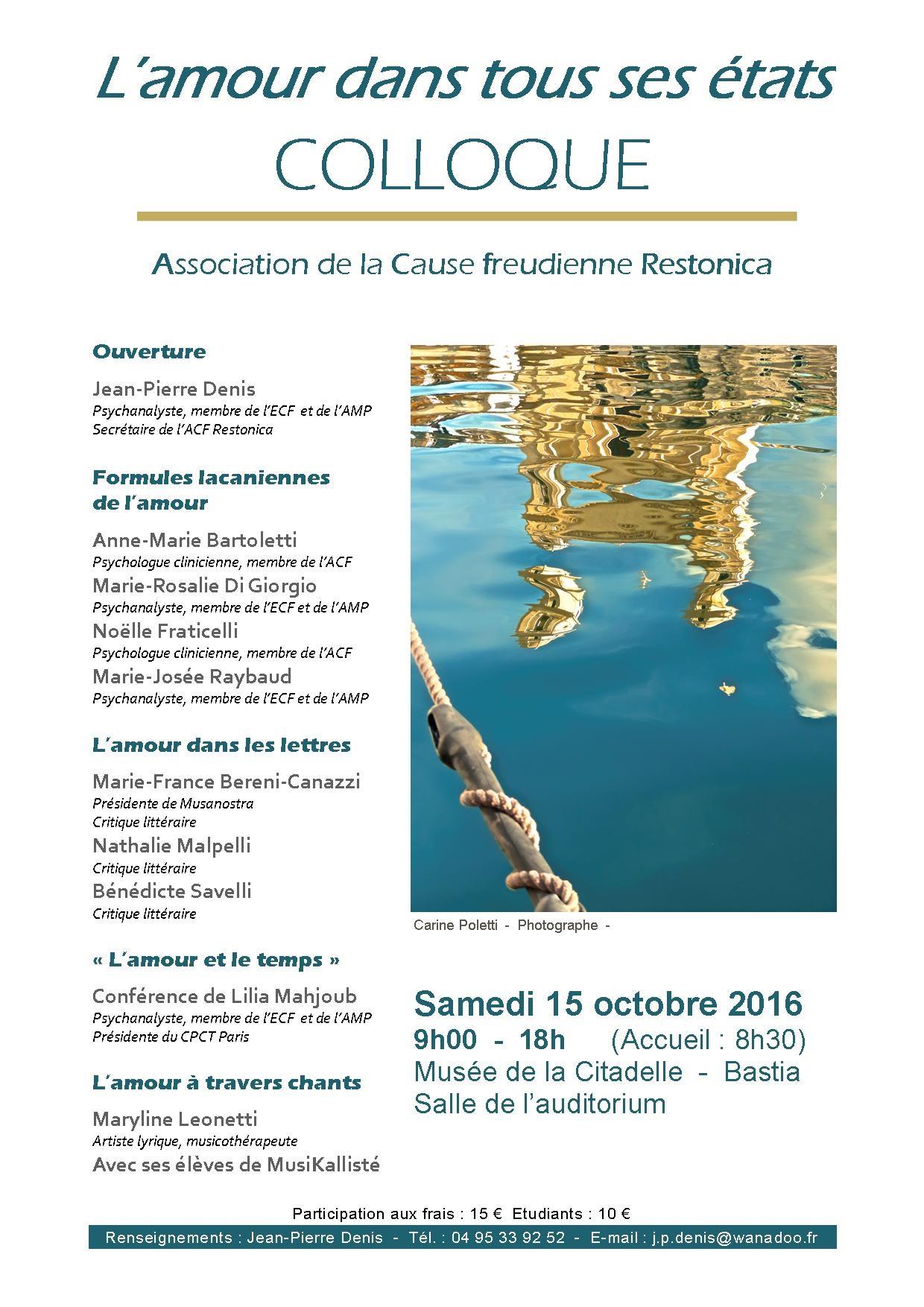 Colloque de l'ACF Restonica et du Programme psychanalytique de Bastia